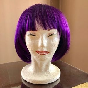 Halloween costume short purple hair wig!